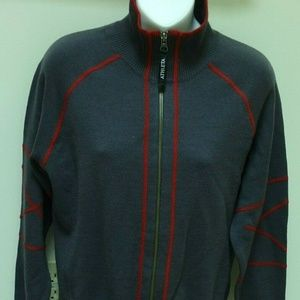 Athleta L Gray Red zip front wool sweater jacket